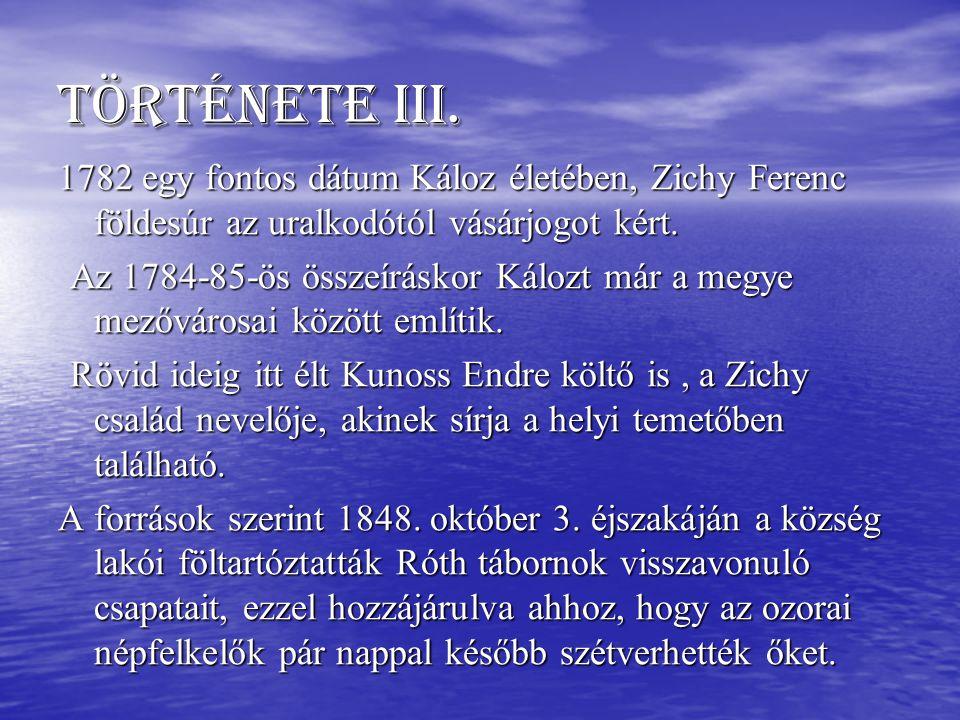 Története III. 1782 egy fontos dátum Káloz életében, Zichy Ferenc földesúr az uralkodótól vásárjogot kért. Az 1784-85-ös összeíráskor Kálozt már a meg