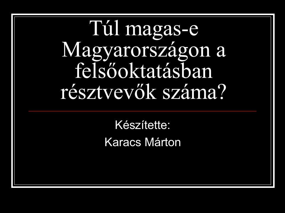 Túl magas-e Magyarországon a felsőoktatásban résztvevők száma? Készítette: Karacs Márton