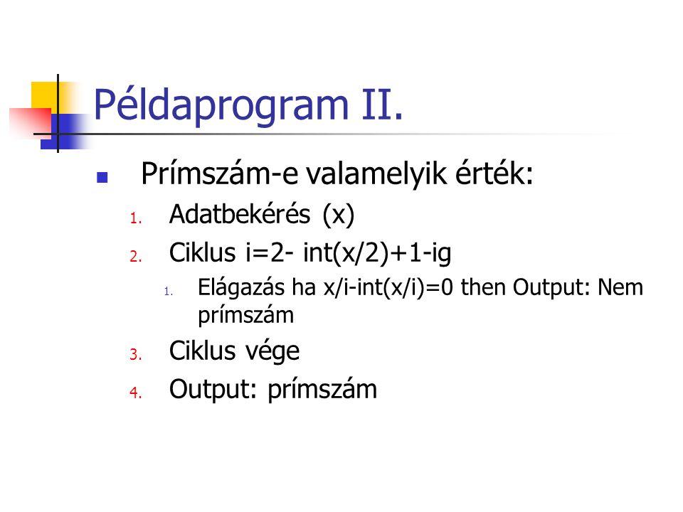 Példaprogram II. Prímszám-e valamelyik érték: 1. Adatbekérés (x) 2. Ciklus i=2- int(x/2)+1-ig 1. Elágazás ha x/i-int(x/i)=0 then Output: Nem prímszám