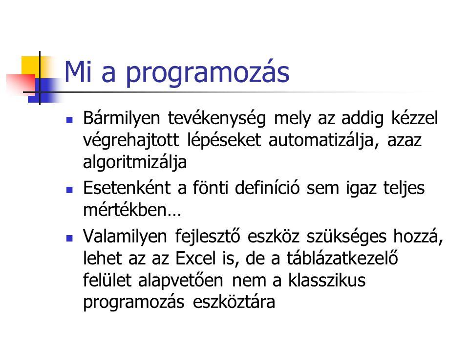 Mi a programozás Bármilyen tevékenység mely az addig kézzel végrehajtott lépéseket automatizálja, azaz algoritmizálja Esetenként a fönti definíció sem