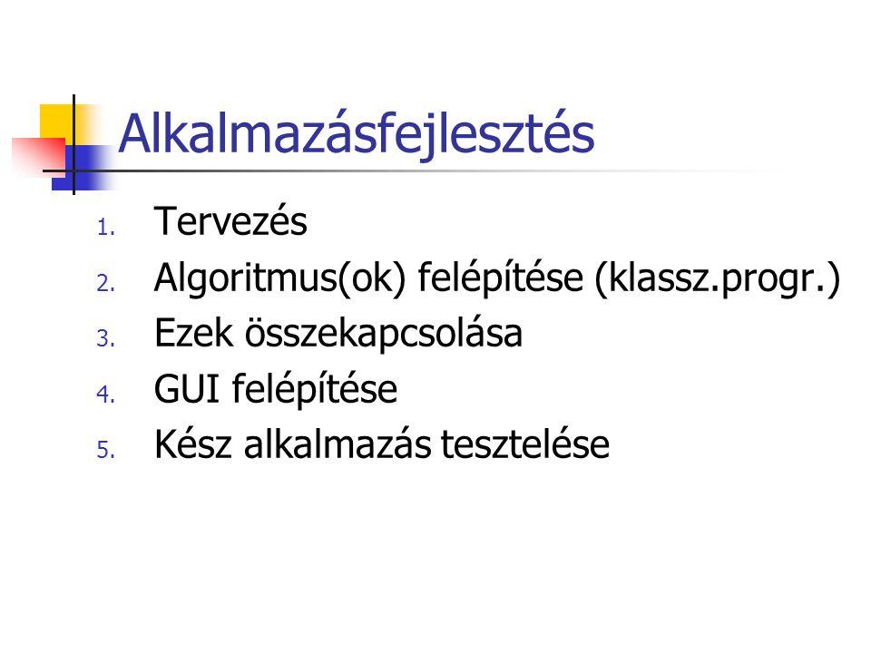 Alkalmazásfejlesztés 1. Tervezés 2. Algoritmus(ok) felépítése (klassz.progr.) 3. Ezek összekapcsolása 4. GUI felépítése 5. Kész alkalmazás tesztelése