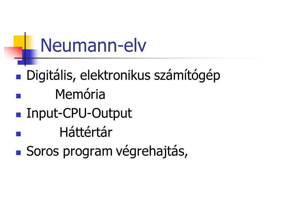 Neumann-elv Digitális, elektronikus számítógép Memória Input-CPU-Output Háttértár Soros program végrehajtás,