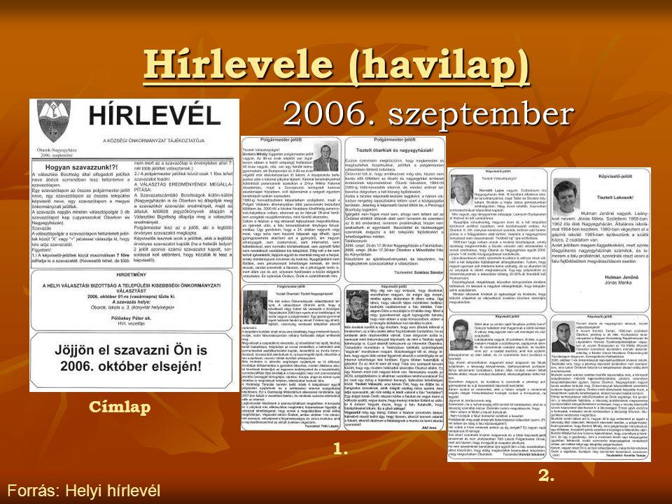 Hírlevele (havilap) 2006. szeptember Forrás: Helyi hírlevél Címlap 1. 2.