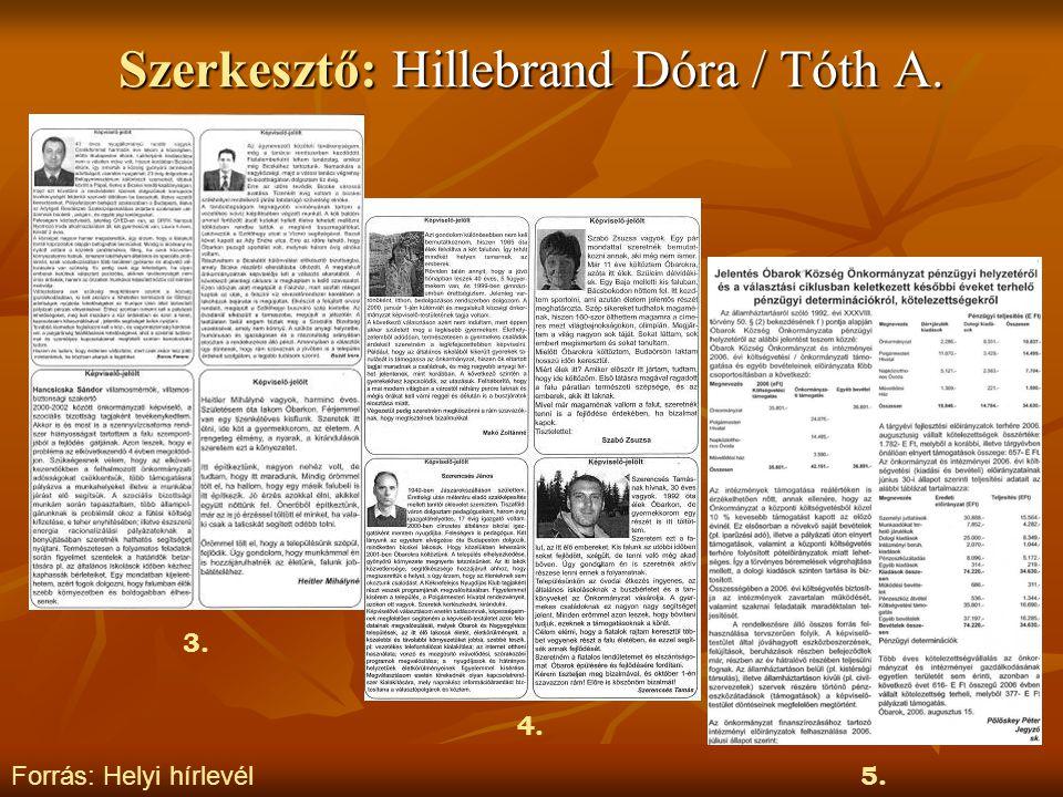 Szerkesztő: Hillebrand Dóra / Tóth A. Forrás: Helyi hírlevél 3. 4. 5.