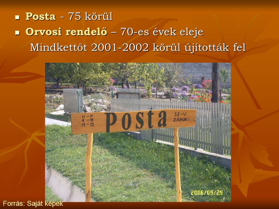 Posta - 75 körül Posta - 75 körül Orvosi rendelő – 70-es évek eleje Orvosi rendelő – 70-es évek eleje Mindkettőt 2001-2002 körül újították fel Forrás: