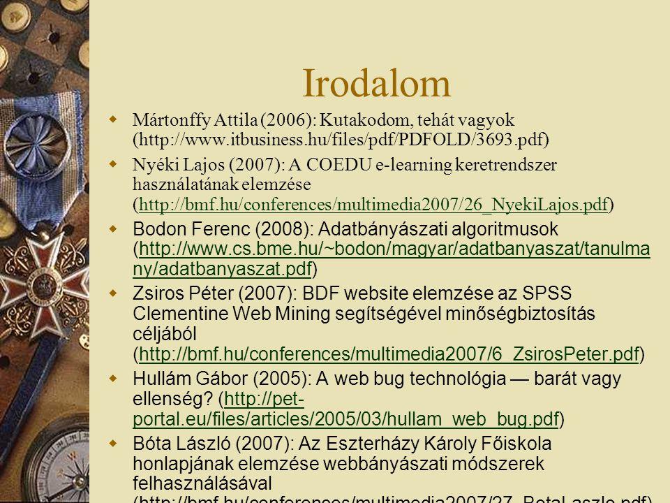 Irodalom  Mártonffy Attila (2006): Kutakodom, tehát vagyok (http://www.itbusiness.hu/files/pdf/PDFOLD/3693.pdf)  Nyéki Lajos (2007): A COEDU e-learning keretrendszer használatának elemzése (http://bmf.hu/conferences/multimedia2007/26_NyekiLajos.pdf)http://bmf.hu/conferences/multimedia2007/26_NyekiLajos.pdf  Bodon Ferenc (2008): Adatbányászati algoritmusok (http://www.cs.bme.hu/~bodon/magyar/adatbanyaszat/tanulma ny/adatbanyaszat.pdf)http://www.cs.bme.hu/~bodon/magyar/adatbanyaszat/tanulma ny/adatbanyaszat.pdf  Zsiros Péter (2007): BDF website elemzése az SPSS Clementine Web Mining segítségével minőségbiztosítás céljából (http://bmf.hu/conferences/multimedia2007/6_ZsirosPeter.pdf)http://bmf.hu/conferences/multimedia2007/6_ZsirosPeter.pdf  Hullám Gábor (2005): A web bug technológia — barát vagy ellenség.