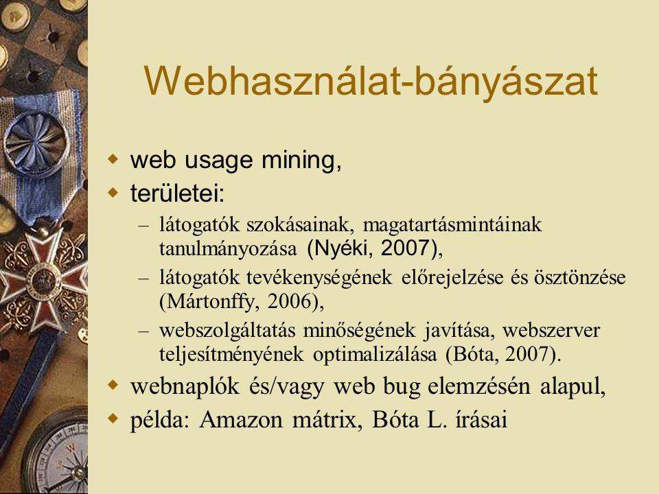 Webhasználat-bányászat  web usage mining,  területei: – látogatók szokásainak, magatartásmintáinak tanulmányozása (Nyéki, 2007), – látogatók tevékenységének előrejelzése és ösztönzése (Mártonffy, 2006), – webszolgáltatás minőségének javítása, webszerver teljesítményének optimalizálása (Bóta, 2007).
