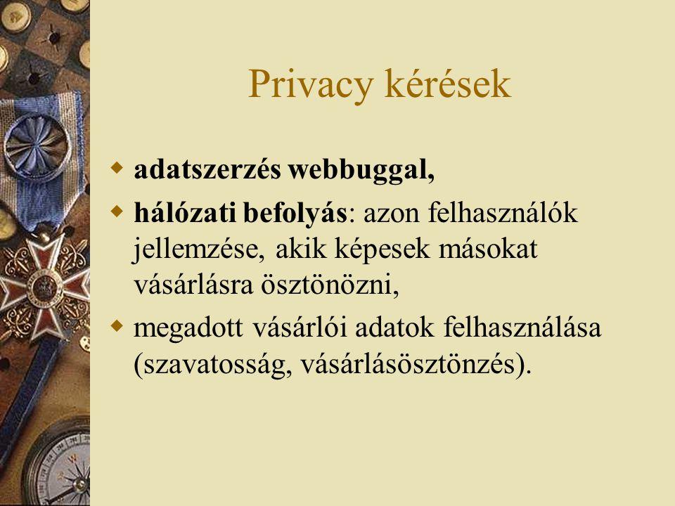 Privacy kérések  adatszerzés webbuggal,  hálózati befolyás: azon felhasználók jellemzése, akik képesek másokat vásárlásra ösztönözni,  megadott vásárlói adatok felhasználása (szavatosság, vásárlásösztönzés).