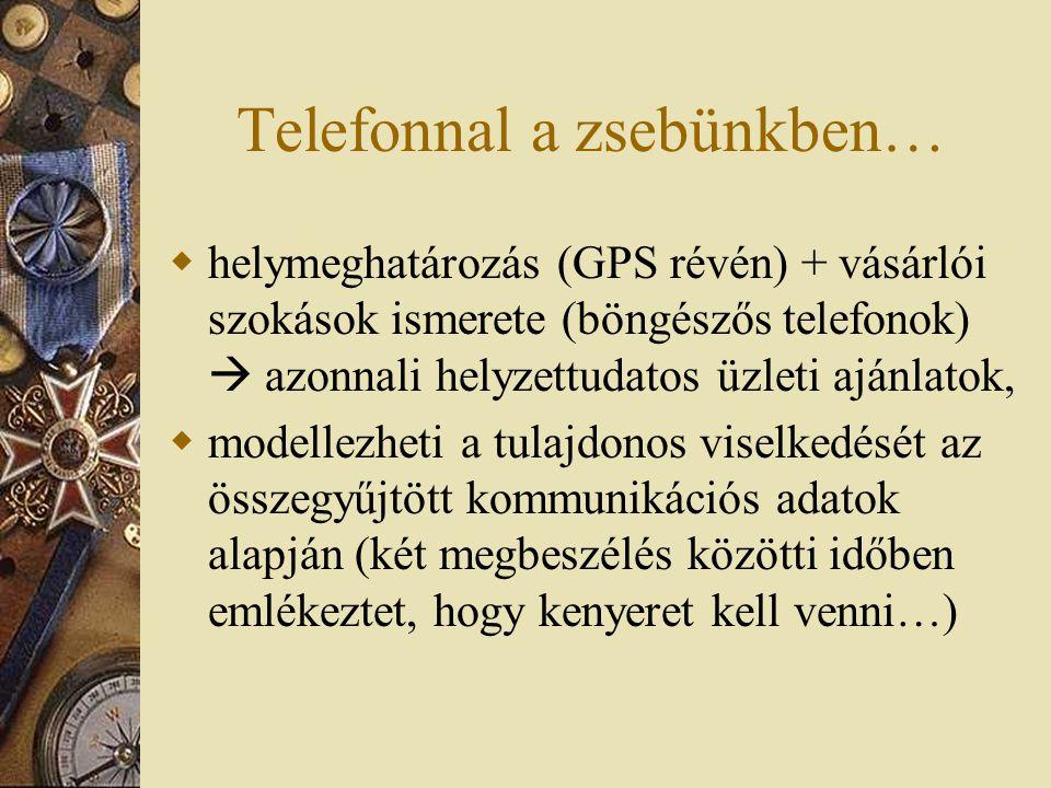 Telefonnal a zsebünkben…  helymeghatározás (GPS révén) + vásárlói szokások ismerete (böngészős telefonok)  azonnali helyzettudatos üzleti ajánlatok,  modellezheti a tulajdonos viselkedését az összegyűjtött kommunikációs adatok alapján (két megbeszélés közötti időben emlékeztet, hogy kenyeret kell venni…)