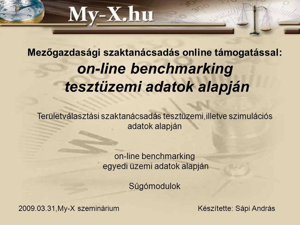 Mezőgazdasági szaktanácsadás online támogatással: on-line benchmarking tesztüzemi adatok alapján Területválasztási szaktanácsadás tesztüzemi,illetve szimulációs adatok alapján on-line benchmarking egyedi üzemi adatok alapján Súgómodulok Készítette: Sápi András2009.03.31,My-X szeminárium