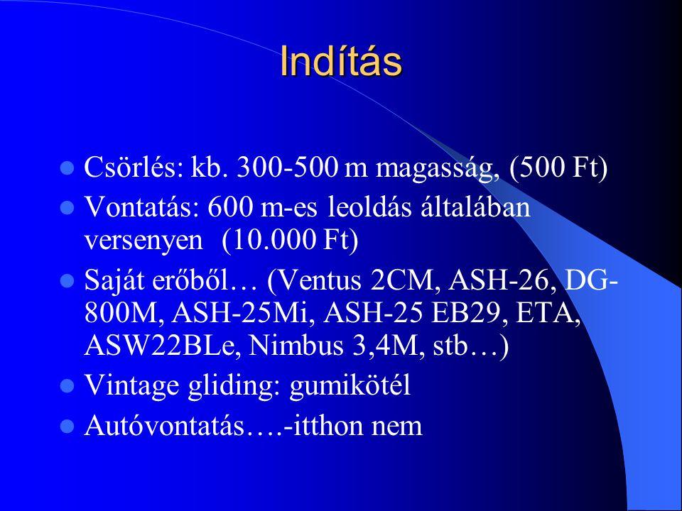 Indítás Csörlés: kb. 300-500 m magasság, (500 Ft) Vontatás: 600 m-es leoldás általában versenyen (10.000 Ft) Saját erőből… (Ventus 2CM, ASH-26, DG- 80