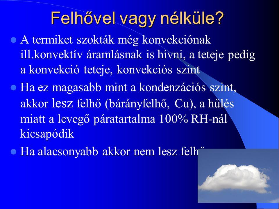 Felhővel vagy nélküle? A termiket szokták még konvekciónak ill.konvektív áramlásnak is hívni, a teteje pedig a konvekció teteje, konvekciós szint Ha e
