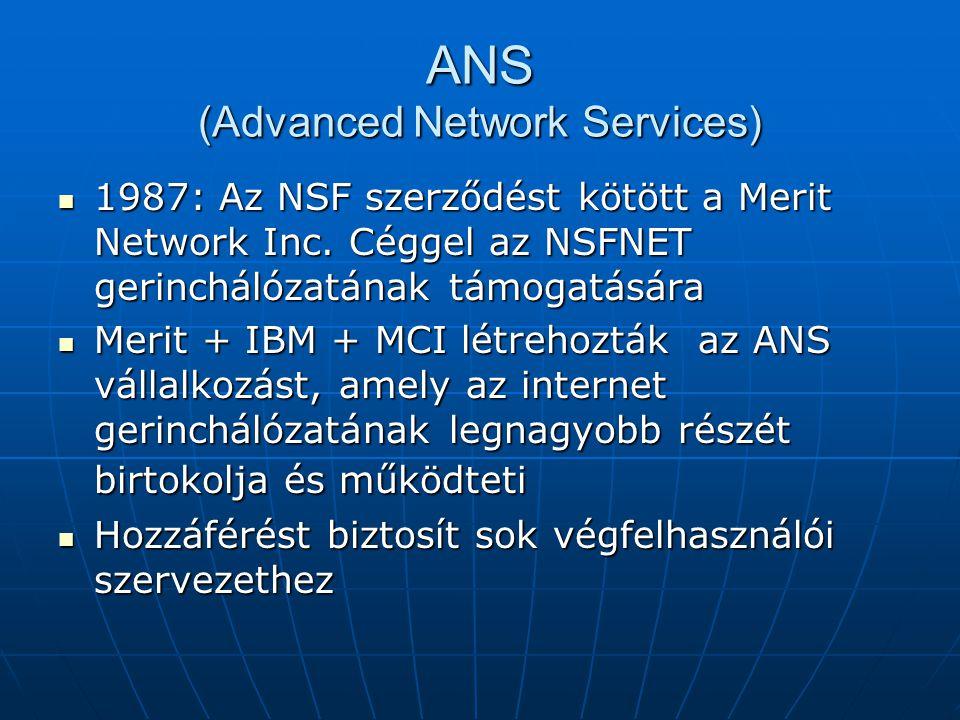 ANS (Advanced Network Services) 1987: Az NSF szerződést kötött a Merit Network Inc. Céggel az NSFNET gerinchálózatának támogatására 1987: Az NSF szerz
