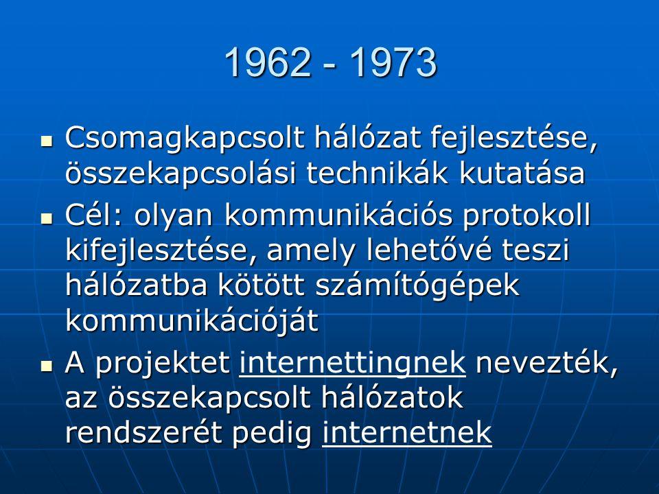 ARPANET (Advanced Research Projects Agency Network) - Kezdetben 4 csomópont: UCLA (University of California at Los Angeles)UCLA (University of California at Los Angeles) SRI (Stanford Research Institute)SRI (Stanford Research Institute) UCSB (University of California at Santa Barbara)UCSB (University of California at Santa Barbara) University of UtahUniversity of Utah -1971: oktatási és kutatási intézmények kapcsolódása (pl.