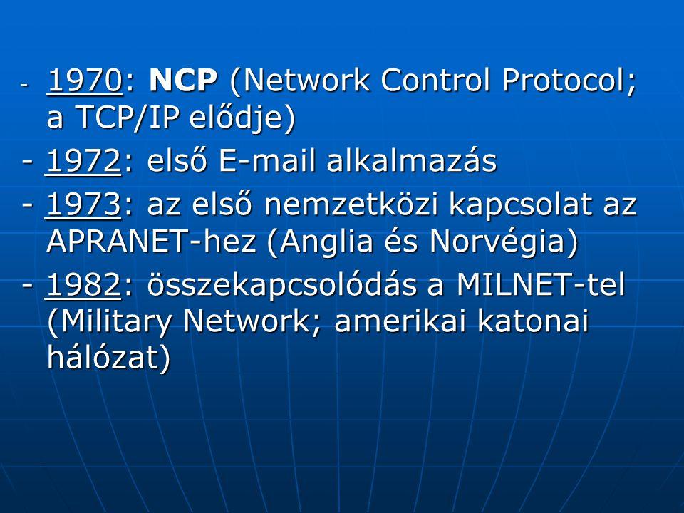 További hálózatok kapcsolódása MINET (a MILnet európai megfelelője) MINET (a MILnet európai megfelelője) NFSNET (National Science Foundation Network) NFSNET (National Science Foundation Network) BITNET (Because It's Time Network; egyetemek közti kapcsolat, eredetileg IBM nagyszámítógépeket köt össze) BITNET (Because It's Time Network; egyetemek közti kapcsolat, eredetileg IBM nagyszámítógépeket köt össze) EARN (European Academic Research Network) EARN (European Academic Research Network) USENET (UNIX operációs rendszerű gépeket köt össze) USENET (UNIX operációs rendszerű gépeket köt össze)