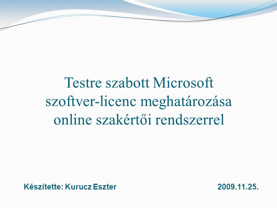 Testre szabott Microsoft szoftver-licenc meghatározása online szakértői rendszerrel Készítette: Kurucz Eszter2009.11.25.