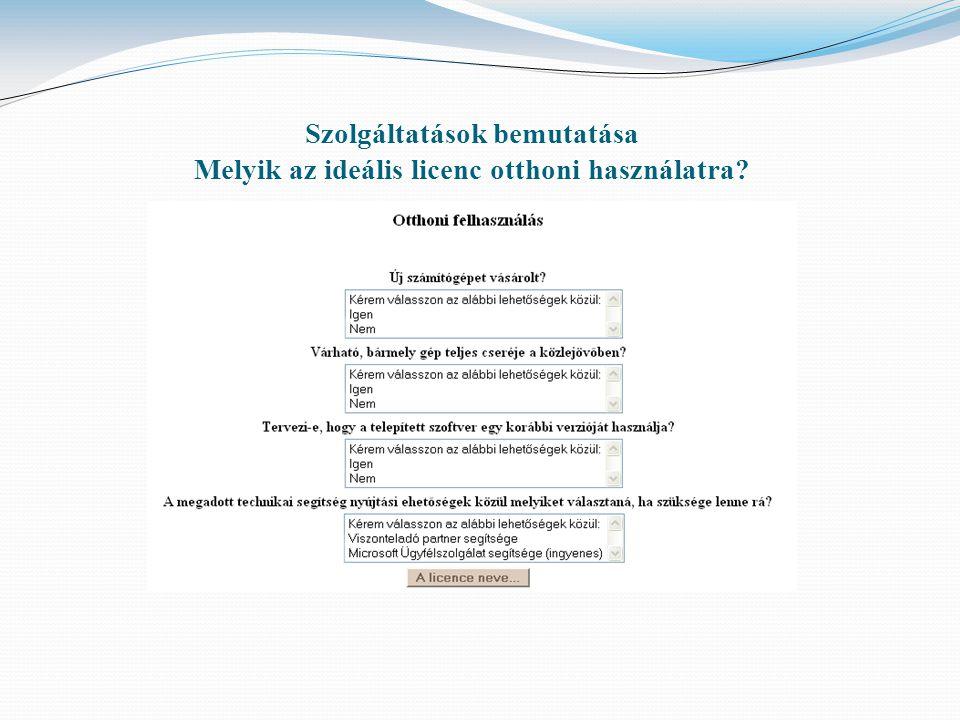 Szolgáltatások bemutatása Melyik az ideális licenc otthoni használatra