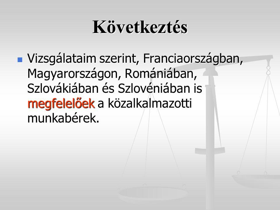 Következtés Vizsgálataim szerint, Franciaországban, Magyarországon, Romániában, Szlovákiában és Szlovéniában is megfelelőek a közalkalmazotti munkabérek.