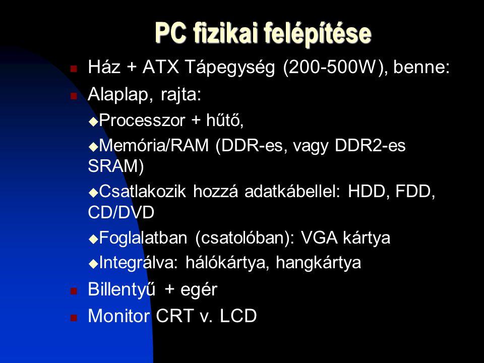 PC fizikai felépítése Ház + ATX Tápegység (200-500W), benne: Alaplap, rajta:  Processzor + hűtő,  Memória/RAM (DDR-es, vagy DDR2-es SRAM)  Csatlakozik hozzá adatkábellel: HDD, FDD, CD/DVD  Foglalatban (csatolóban): VGA kártya  Integrálva: hálókártya, hangkártya Billentyű + egér Monitor CRT v.