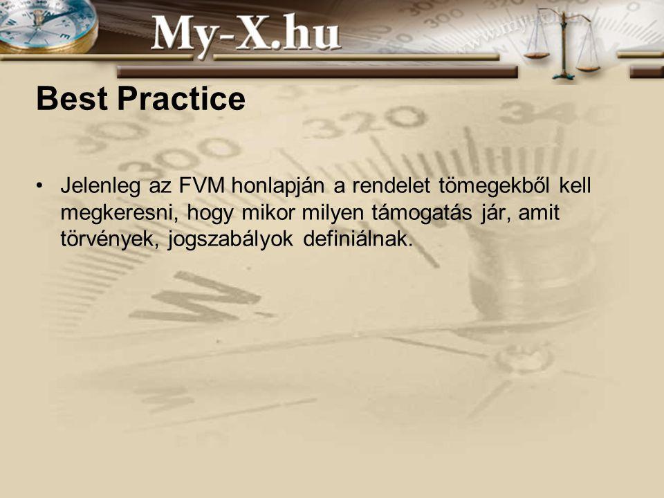 Best Practice Jelenleg az FVM honlapján a rendelet tömegekből kell megkeresni, hogy mikor milyen támogatás jár, amit törvények, jogszabályok definiálnak.