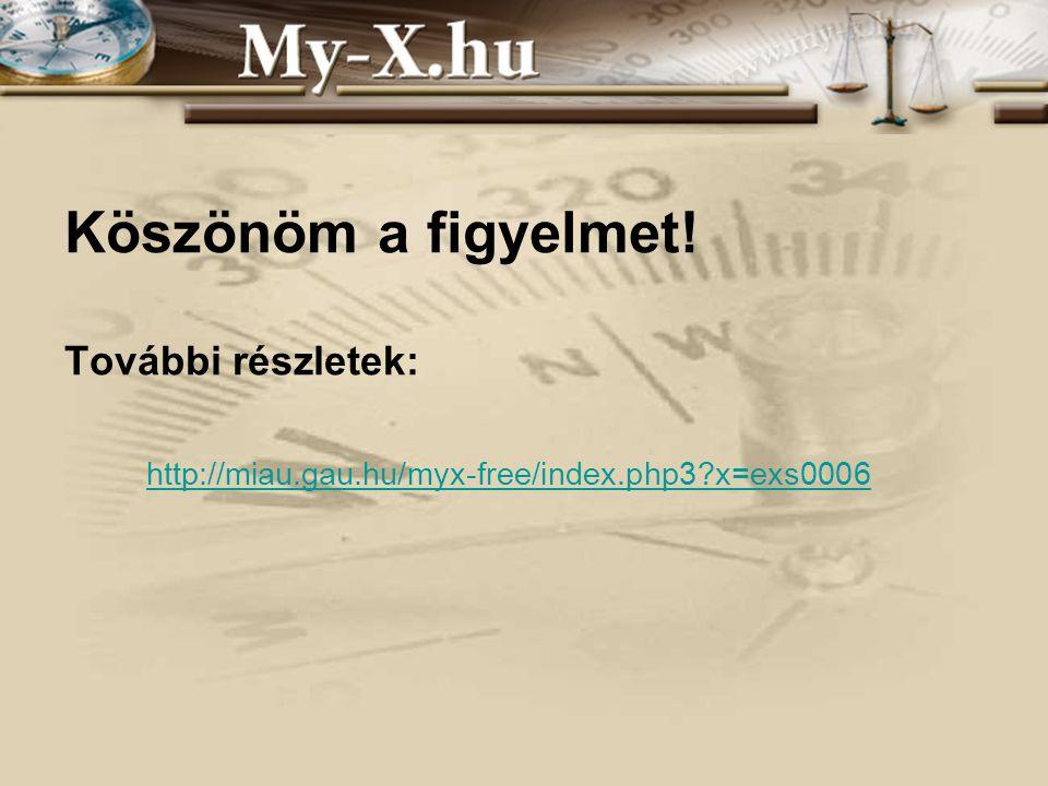 Köszönöm a figyelmet! További részletek: http://miau.gau.hu/myx-free/index.php3 x=exs0006
