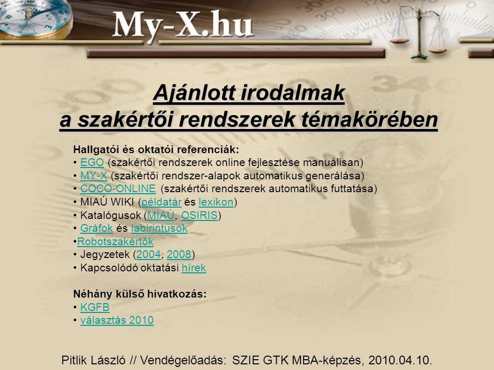 Ajánlott irodalmak a szakértői rendszerek témakörében Hallgatói és oktatói referenciák: EGO (szakértői rendszerek online fejlesztése manuálisan)EGO MY-X (szakértői rendszer-alapok automatikus generálása)MY-X COCO-ONLINE (szakértői rendszerek automatikus futtatása)COCO-ONLINE MIAÚ WIKI (példatár és lexikon)példatárlexikon Katalógusok (MIAÚ, OSIRIS)MIAÚOSIRIS Gráfok és labirintusokGráfoklabirintusok Robotszakértők Jegyzetek (2004, 2008)20042008 Kapcsolódó oktatási hírekhírek Néhány külső hivatkozás: KGFB választás 2010 Pitlik László // Vendégelőadás: SZIE GTK MBA-képzés, 2010.04.10.
