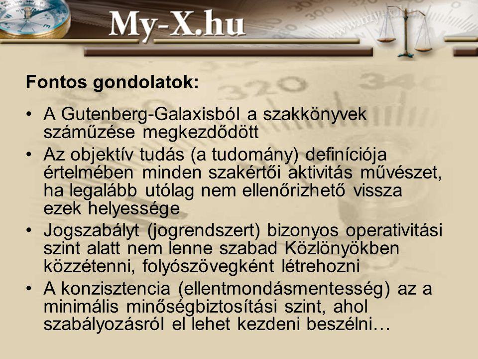 INNOCSEKK 156/2006 Fontos gondolatok: A Gutenberg-Galaxisból a szakkönyvek száműzése megkezdődött Az objektív tudás (a tudomány) definíciója értelmében minden szakértői aktivitás művészet, ha legalább utólag nem ellenőrizhető vissza ezek helyessége Jogszabályt (jogrendszert) bizonyos operativitási szint alatt nem lenne szabad Közlönyökben közzétenni, folyószövegként létrehozni A konzisztencia (ellentmondásmentesség) az a minimális minőségbiztosítási szint, ahol szabályozásról el lehet kezdeni beszélni…