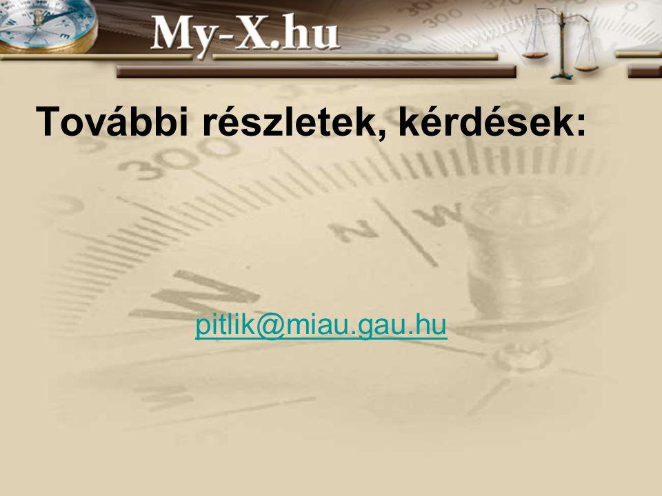 INNOCSEKK 156/2006 További részletek, kérdések: pitlik@miau.gau.hu