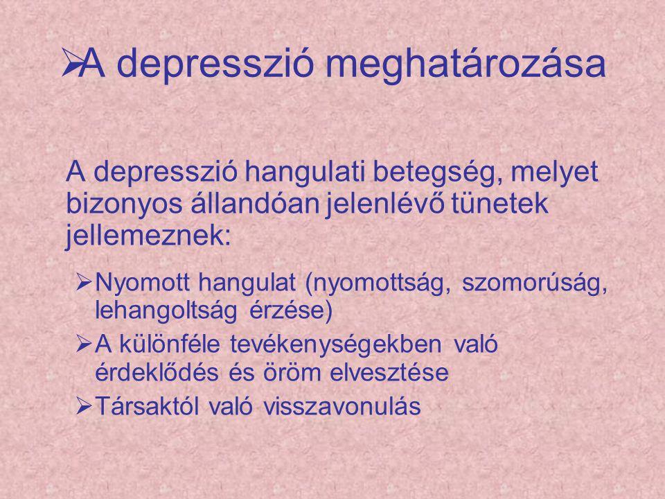  A depresszió meghatározása A depresszió hangulati betegség, melyet bizonyos állandóan jelenlévő tünetek jellemeznek:  Nyomott hangulat (nyomottság,