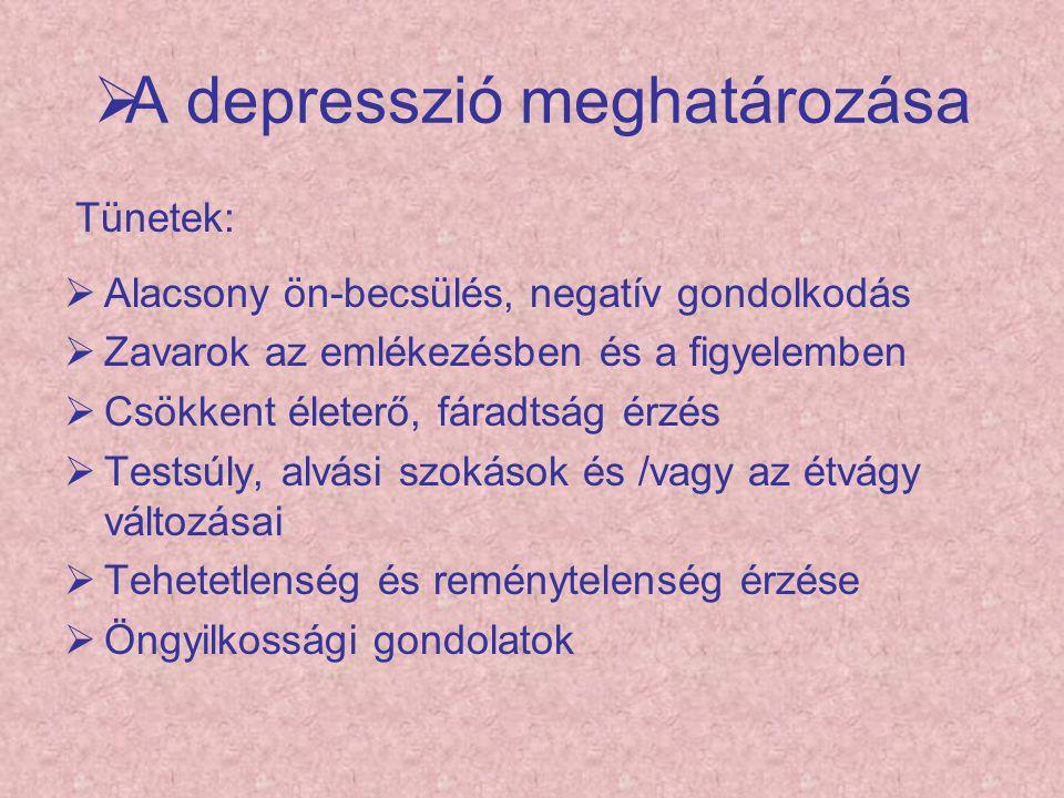  A depresszió meghatározása Tünetek:  Alacsony ön-becsülés, negatív gondolkodás  Zavarok az emlékezésben és a figyelemben  Csökkent életerő, fárad