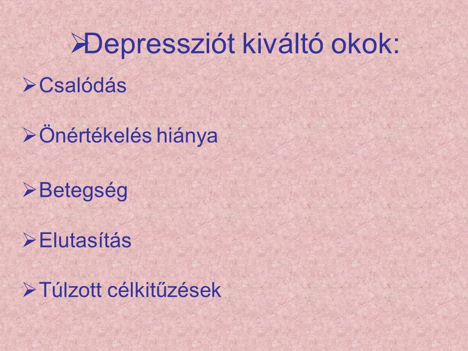  Depressziót kiváltó okok:  Csalódás  Önértékelés hiánya  Betegség  Elutasítás  Túlzott célkitűzések