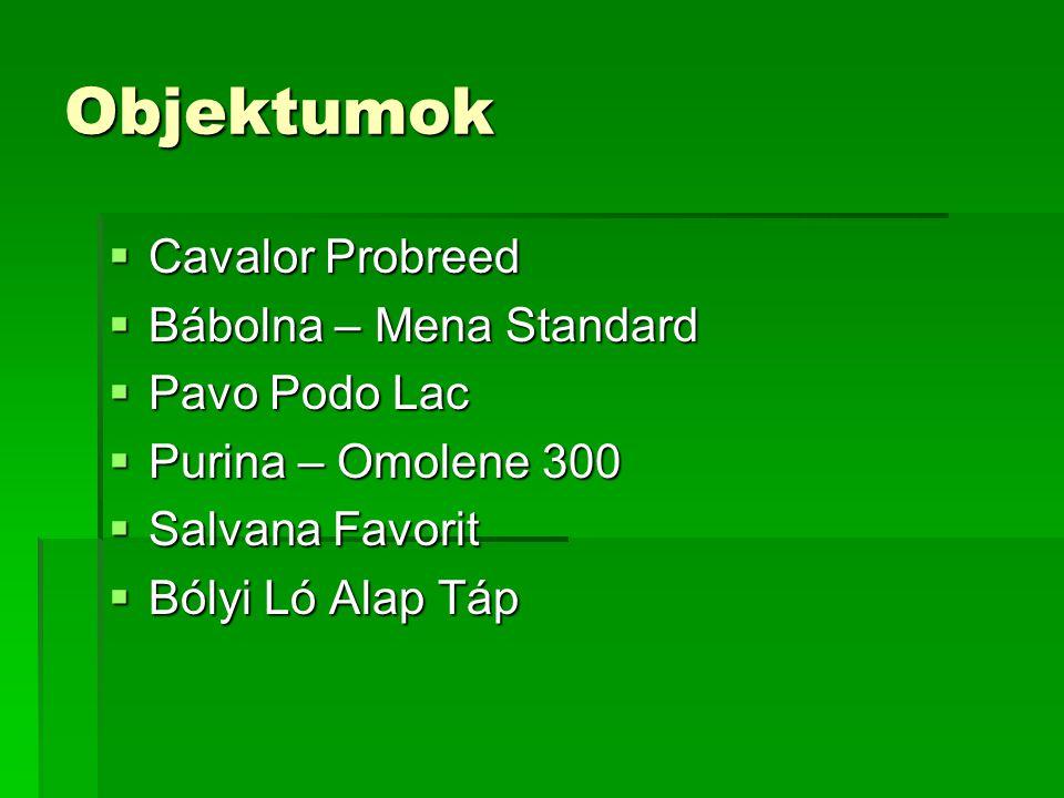 Objektumok  Cavalor Probreed  Bábolna – Mena Standard  Pavo Podo Lac  Purina – Omolene 300  Salvana Favorit  Bólyi Ló Alap Táp