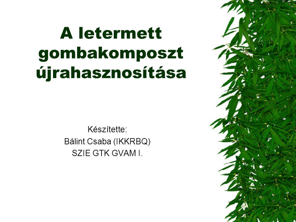 A letermett gombakomposzt újrahasznosítása Készítette: Bálint Csaba (IKKRBQ) SZIE GTK GVAM I.