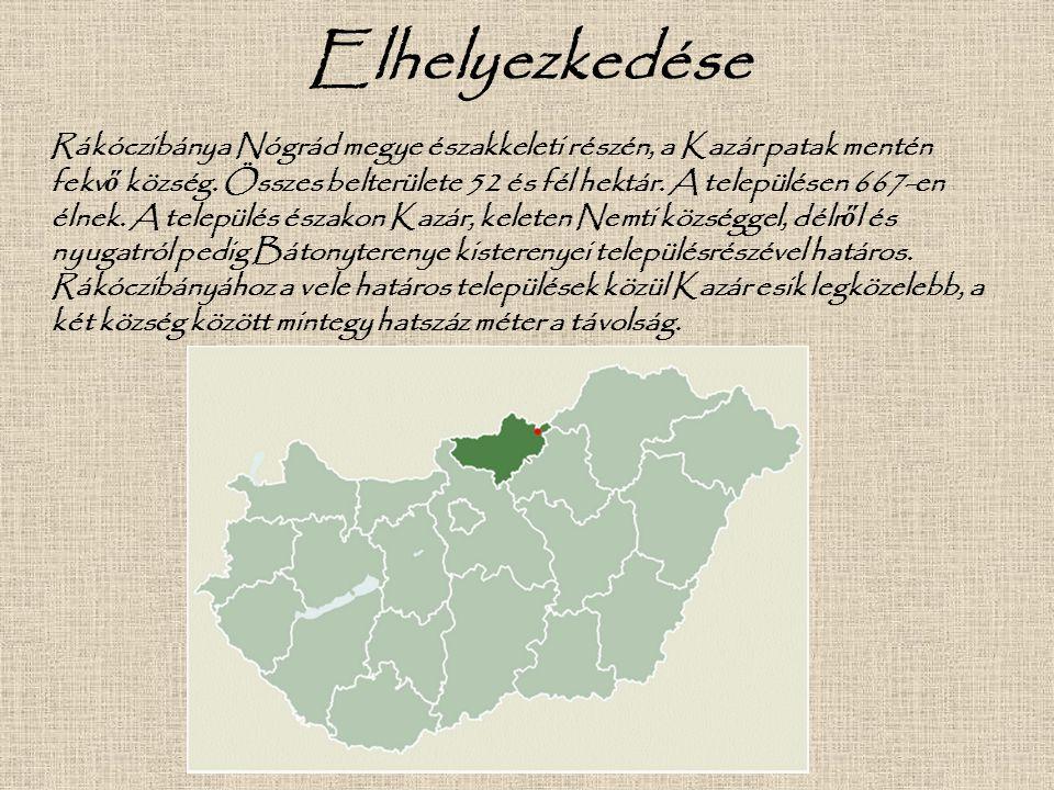 Elhelyezkedése Rákóczibánya Nógrád megye északkeleti részén, a Kazár patak mentén fekv ő község. Összes belterülete 52 és fél hektár. A településen 66