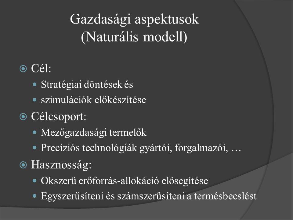 Gazdasági aspektusok (Naturális modell)  Cél: Stratégiai döntések és szimulációk előkészítése  Célcsoport: Mezőgazdasági termelők Precíziós technológiák gyártói, forgalmazói, …  Hasznosság: Okszerű erőforrás-allokáció elősegítése Egyszerűsíteni és számszerűsíteni a termésbecslést