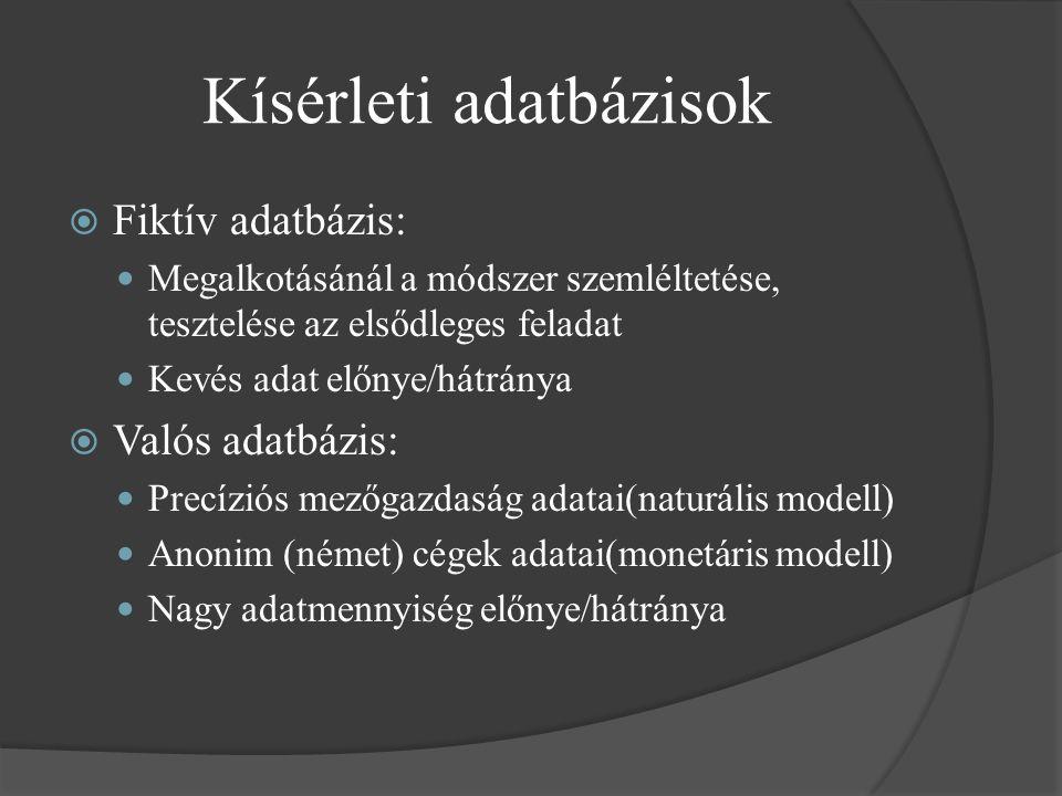 Kísérleti adatbázisok  Fiktív adatbázis: Megalkotásánál a módszer szemléltetése, tesztelése az elsődleges feladat Kevés adat előnye/hátránya  Valós adatbázis: Precíziós mezőgazdaság adatai(naturális modell) Anonim (német) cégek adatai(monetáris modell) Nagy adatmennyiség előnye/hátránya