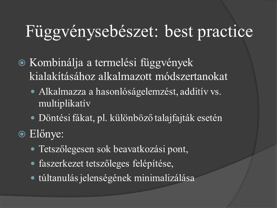 Függvénysebészet: best practice  Kombinálja a termelési függvények kialakításához alkalmazott módszertanokat Alkalmazza a hasonlóságelemzést, additív vs.