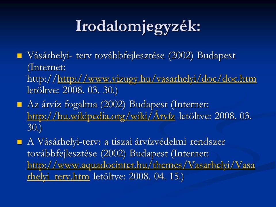 Irodalomjegyzék: Vásárhelyi- terv továbbfejlesztése (2002) Budapest (Internet: http://http://www.vizugy.hu/vasarhelyi/doc/doc.htm letöltve: 2008. 03.