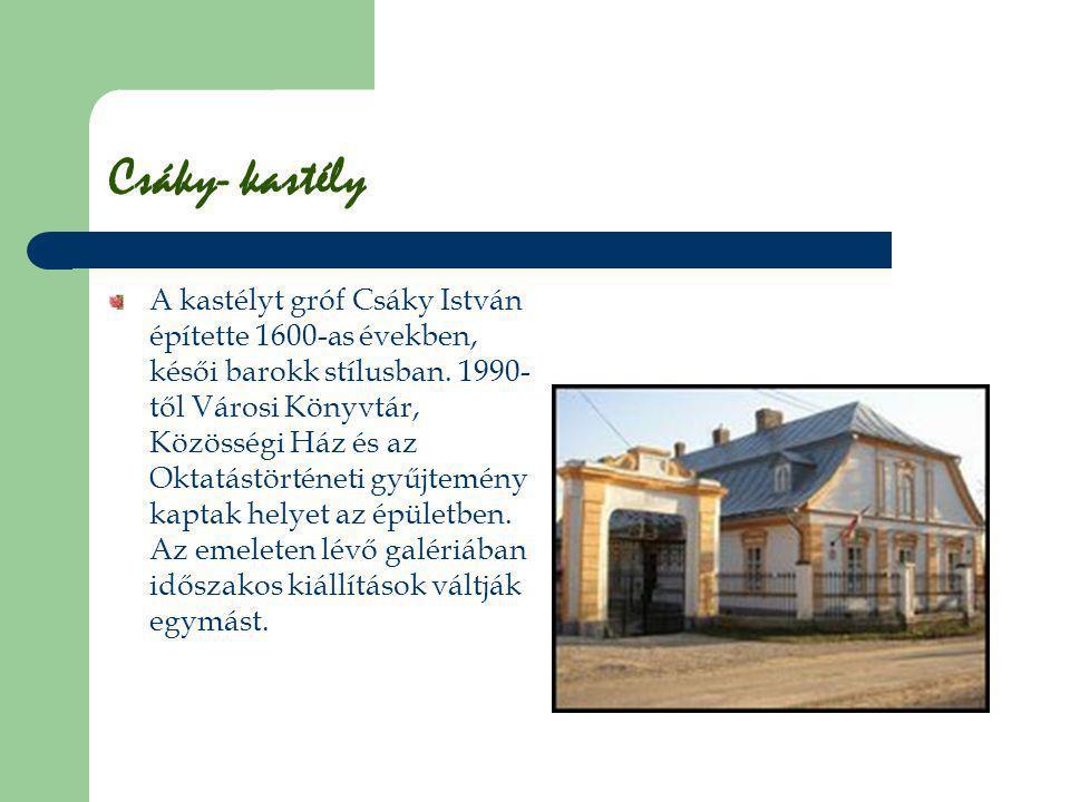 Csáky- kastély A kastélyt gróf Csáky István építette 1600-as években, késői barokk stílusban. 1990- től Városi Könyvtár, Közösségi Ház és az Oktatástö