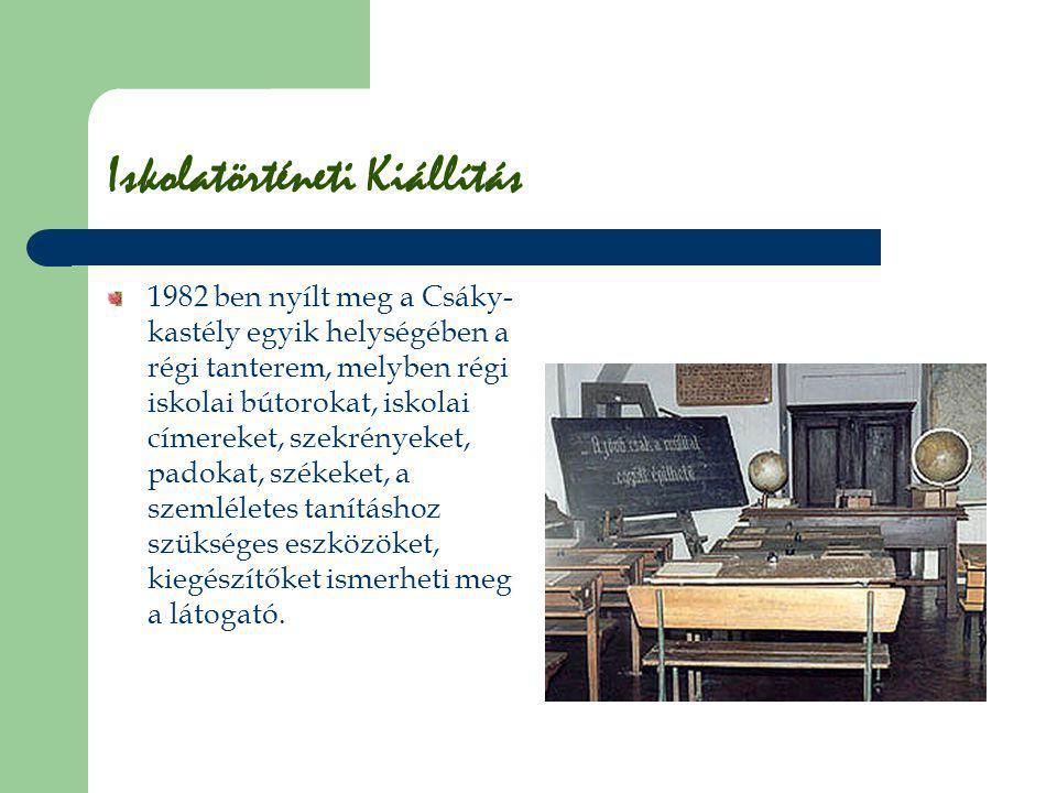 Iskolatörténeti Kiállítás 1982 ben nyílt meg a Csáky- kastély egyik helységében a régi tanterem, melyben régi iskolai bútorokat, iskolai címereket, sz