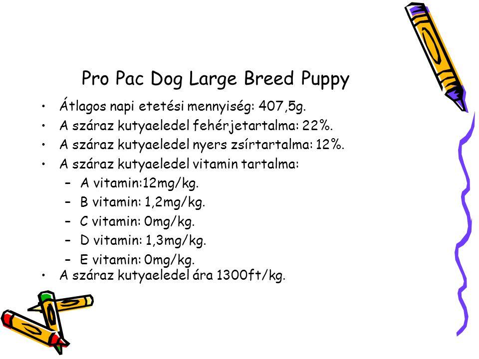 Pro Pac Dog Large Breed Puppy Átlagos napi etetési mennyiség: 407,5g.