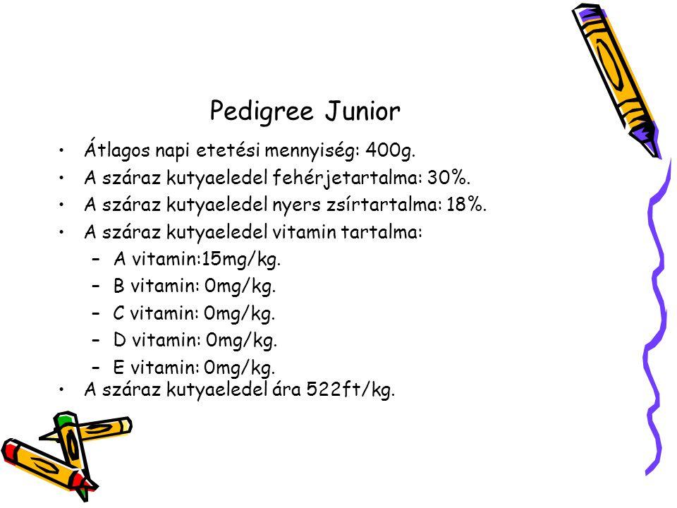 Pedigree Junior Átlagos napi etetési mennyiség: 400g.
