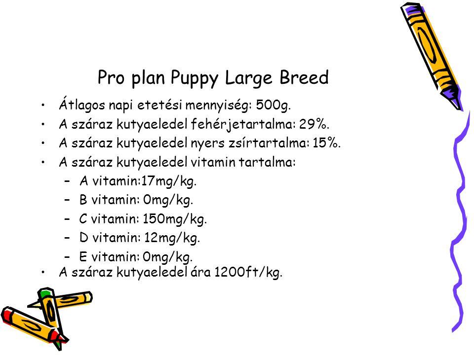 Pro plan Puppy Large Breed Átlagos napi etetési mennyiség: 500g.
