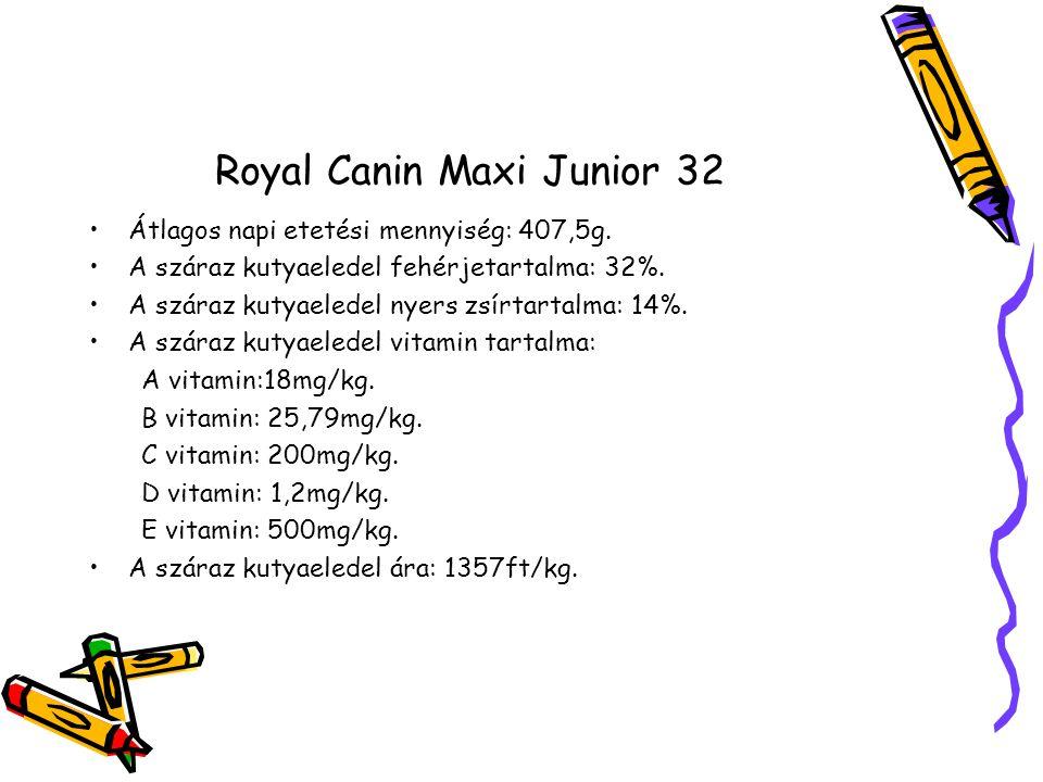 Royal Canin Maxi Junior 32 Átlagos napi etetési mennyiség: 407,5g.