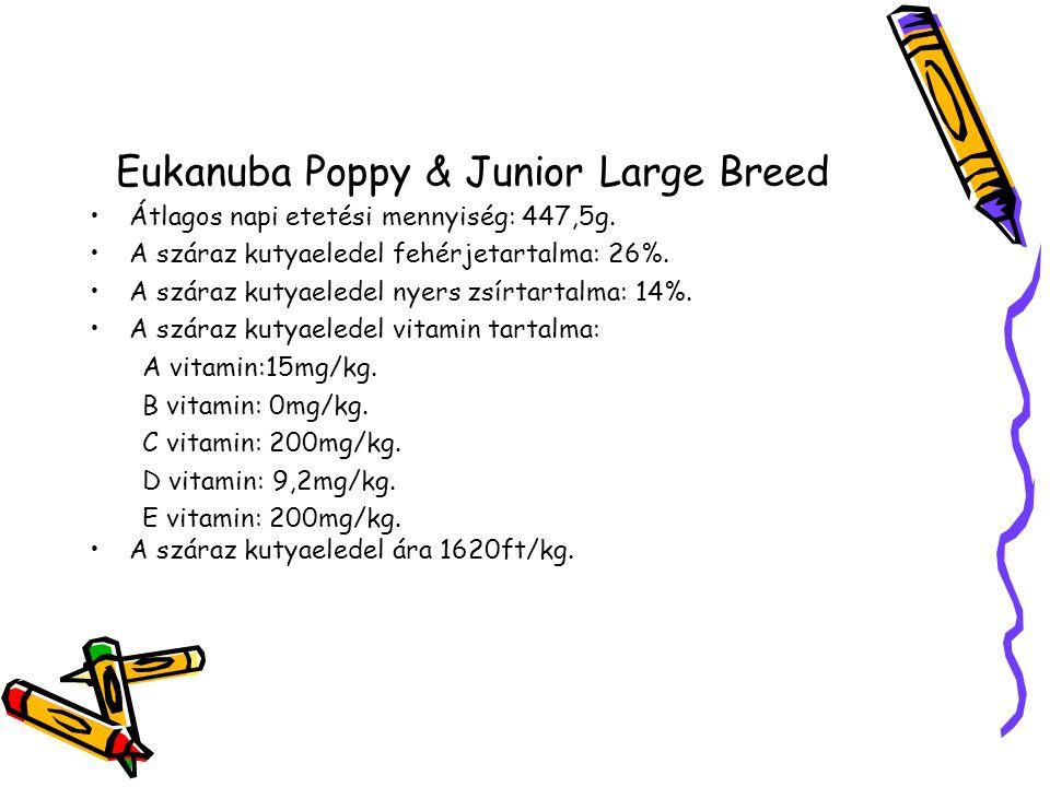 Eukanuba Poppy & Junior Large Breed Átlagos napi etetési mennyiség: 447,5g.