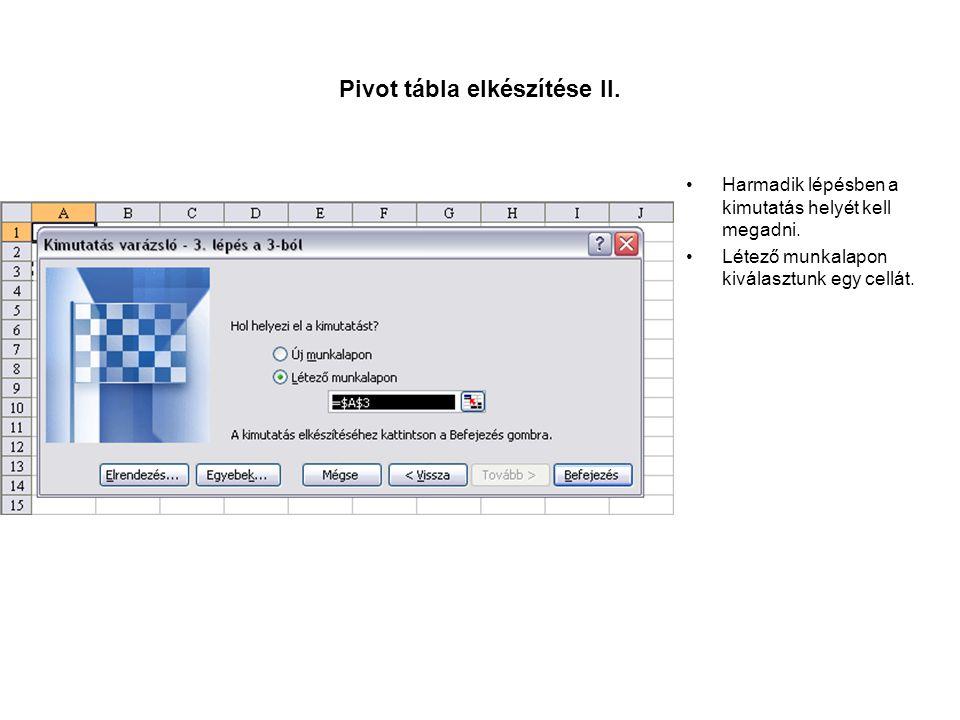 Pivot tábla elkészítése III.