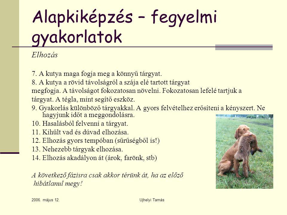 2006. május 12. Ujhelyi Tamás Alapkiképzés – fegyelmi gyakorlatok Elhozás 7. A kutya maga fogja meg a könnyű tárgyat. 8. A kutya a rövid távolságról a