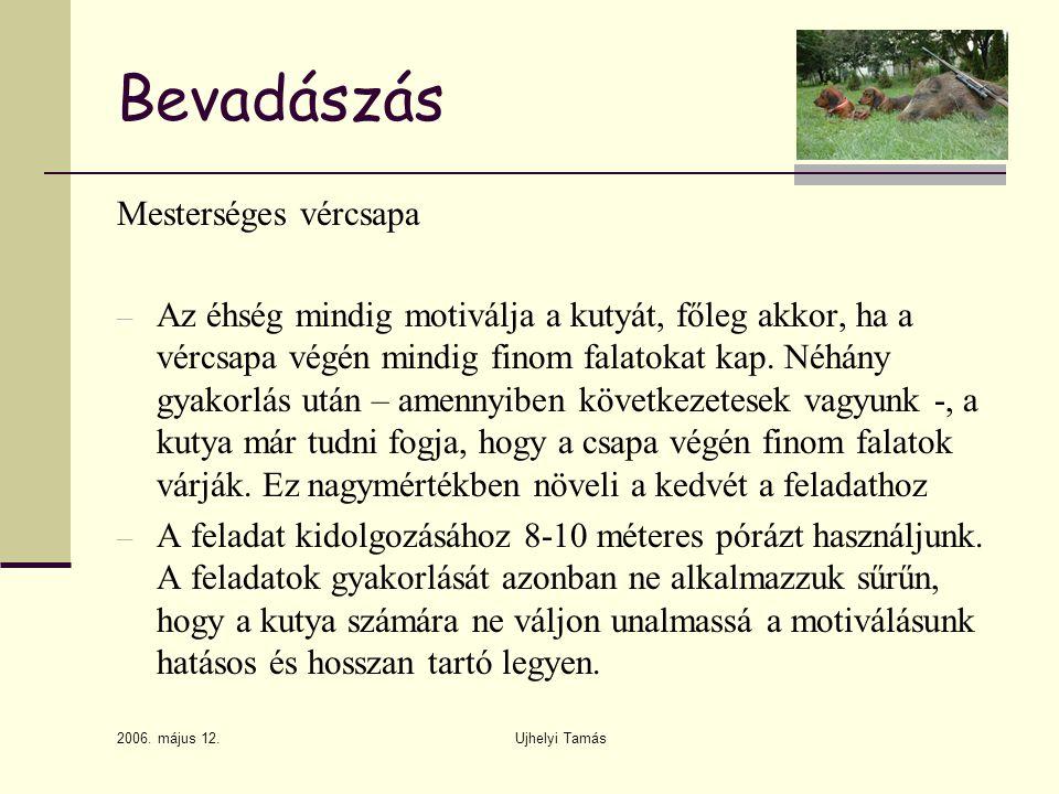 2006. május 12. Ujhelyi Tamás Bevadászás Mesterséges vércsapa – Az éhség mindig motiválja a kutyát, főleg akkor, ha a vércsapa végén mindig finom fala