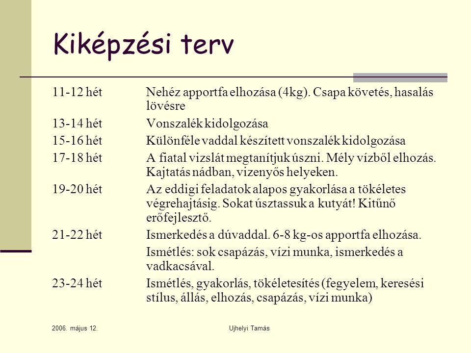 2006.május 12. Ujhelyi Tamás Kiképzési terv 11-12 hétNehéz apportfa elhozása (4kg).