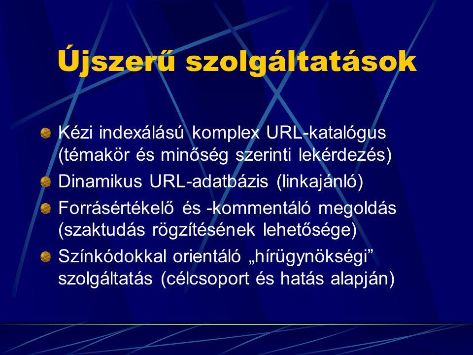 """Újszerű szolgáltatások Kézi indexálású komplex URL-katalógus (témakör és minőség szerinti lekérdezés) Dinamikus URL-adatbázis (linkajánló) Forrásértékelő és -kommentáló megoldás (szaktudás rögzítésének lehetősége) Színkódokkal orientáló """"hírügynökségi szolgáltatás (célcsoport és hatás alapján)"""